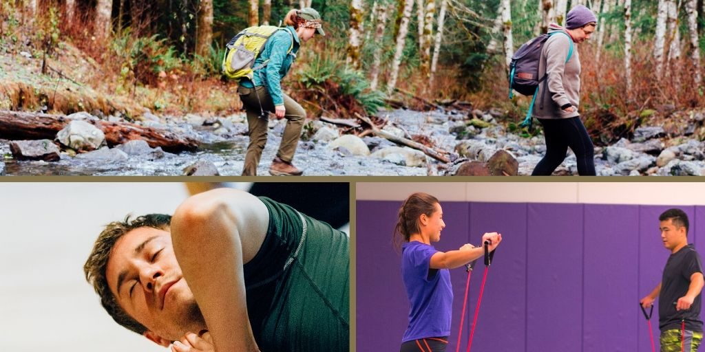 A photo collage of two women hiking, a woman and man using stretch bands, and a man doing yoga.