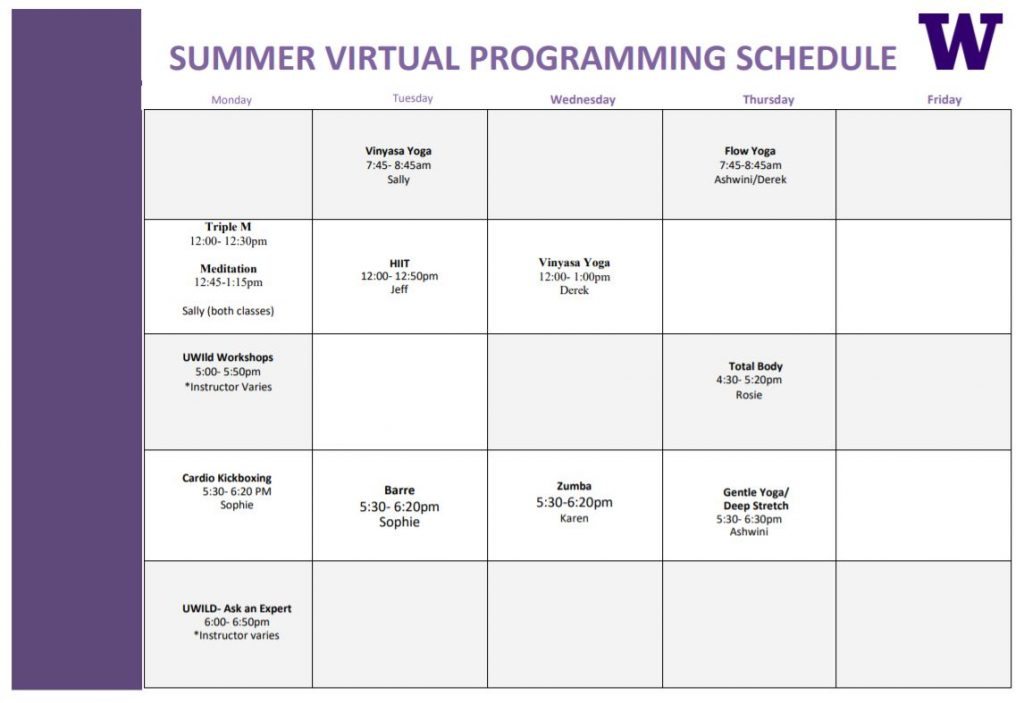 A calendar indicating the repeating class schedule offered this summer by UW Recreation.