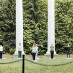 Students do yoga in Sylvan Grove.