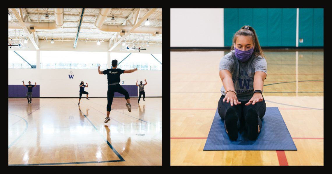 People engage in a fitness class in one photo, while in another, a woman stretches on a yoga mat.