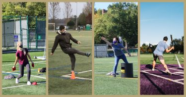 A collage: a woman playing cornhole, a man kicking on a soccer field, a woman throwing a frisbee, a man at bat