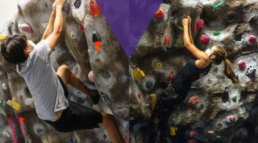 Masked students climb at the UWild Crags Climbing Center.