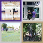 A collection of four images framed in UW colors featuring people dancing, bumping elbows, playing bocce ball, and hiking.