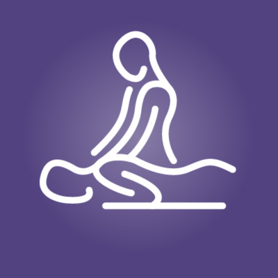 The Massage Clinic logo depicting a graphic of a masseuse giving a massage to an individual in a purple and white color scheme.
