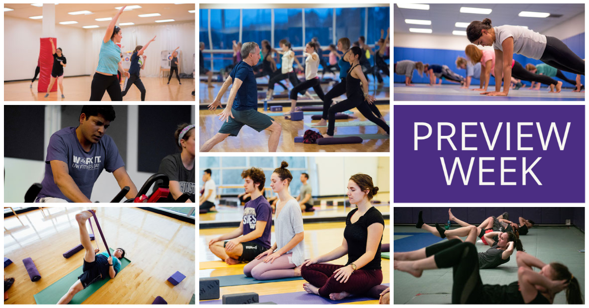 """A collage of photos of people doing dance, yoga, planking, bicycles, meditation, stretching, and riding stationary bikes. A purple color block reads """"preview week."""""""