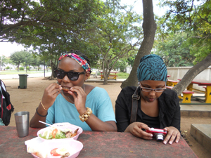 Fardowsa and Kamaria at lunch