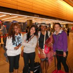 Kafiya, Tiffany, Courtney and Avalon waiting to go through secuirty at Sea Tac