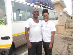 kamaria with bus driver Charles