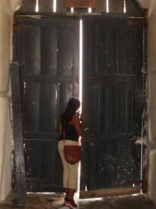 looking through the door