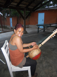 Charmaine with the newly finished instrument