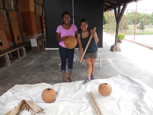 Charmaine and Kamaria with materials