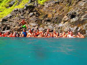 Group picture at the waterfall!