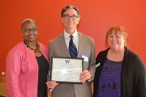 Colin McDonell with Dr. Sheila Edwards Lange and EOP academic advisor Elena Guevara.