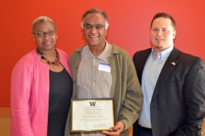 Social Work professor Biren (Ratnesh) Nagda with Dr. Sheila Edwards Lange and TRiO SSS director Kristian Wiles.