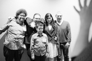 Mark (center) with son Elijah, brother Sean (left), girlfriend Thalia Garcia and mentor Johnny Ohta.