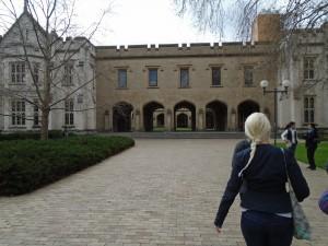 Madison Mackenzie walking at the University of Melbourne campus