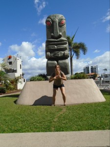 Anna Pendleton posing with the sculpture.