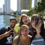 (From left to right) Daniel Corona, Anna Pendleton (lower), Nicole Riley (upper) and Lara Millman (myself) walking around the Gold Coast.