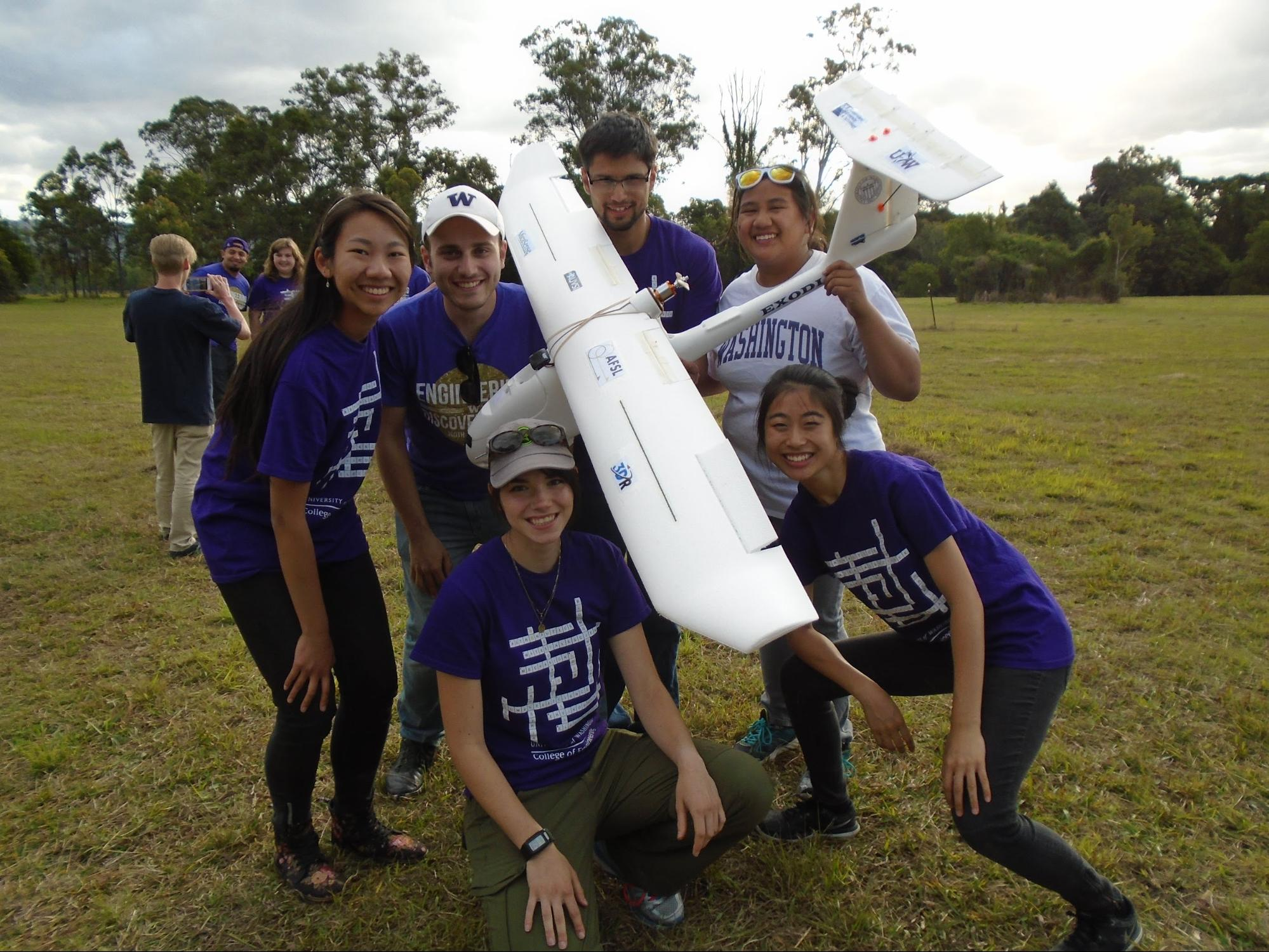 The Exodia team post mission. Photo credit: Jonathan Solomon. (From left to right) Back: Jennifer Look, Maximilian Vertucci, Daniel Corona, Gizelle Gando; Front: Lara Millman and Jessica Trinh.