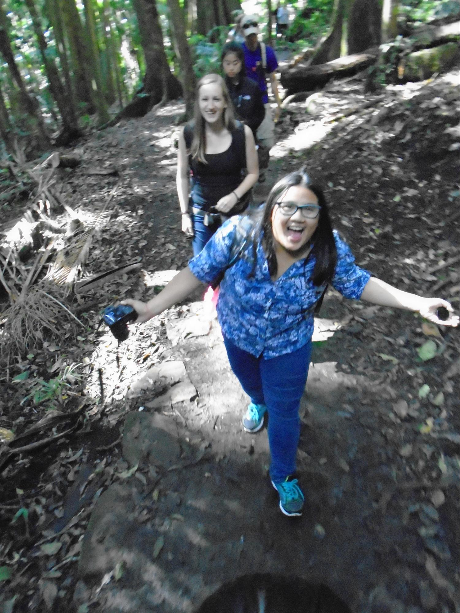(From back to front) Gizelle Gando, Hannah Olliges, Jessica Trinh, and Dr. Chris Lum walking in the Tambourine Rainforest