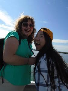 Nicole Riley and Jennifer Look on the Ferry to Stradbroke Island