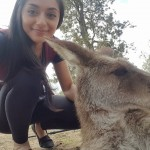 Viviana Castillo with a kangaroo
