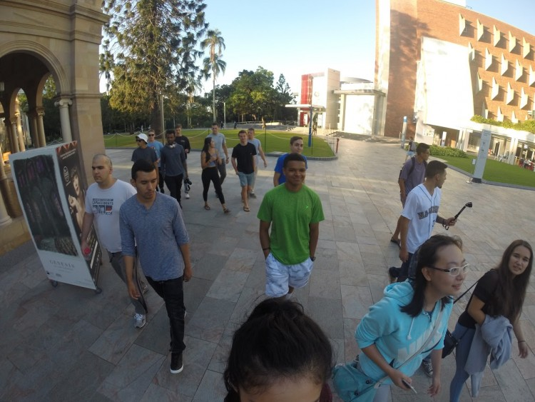 All of the students on our study-abroad trip walking through the QUT campus. I am the person farthest right (I have the black t-shirt on).