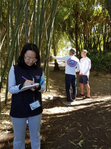 Jinyang Wu (left) takes notes in the City Botanic Gardens with Carter (middle) and Conner (right) behind her.