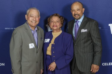 Al Sugiyama (left) with fellow Odegaard Award recipients Vivian Lee and Judge Richard Jones at 2016 Celebration.