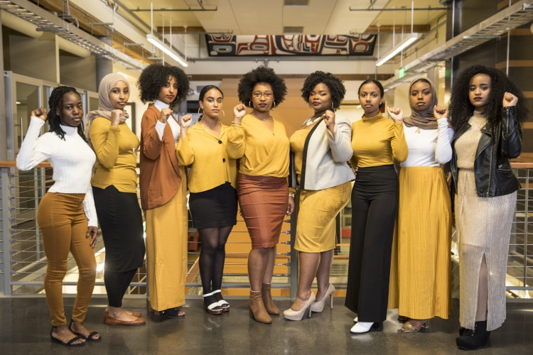 The 2017-18 Black Student Union Officers pictured at the organization's 50th anniversary event in January.