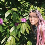 Lunden Harris with pink hair