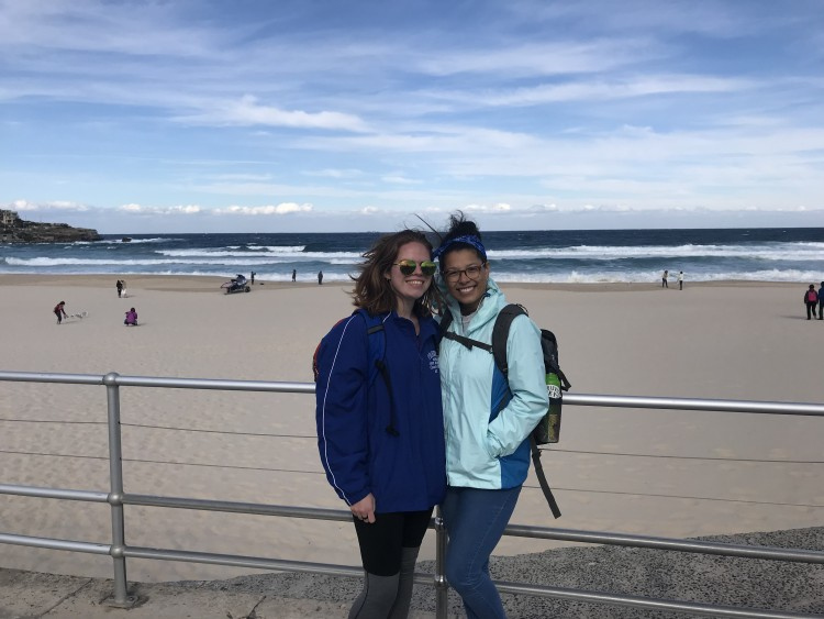 Cara and Lunder on Bondi Beach