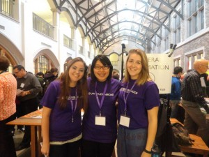 Study Abroad Peer Advisers Samantha Walters, Melissa Wong, and Jackie Lungmus