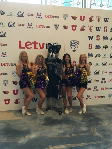 UW dancers and Harry the Husky at the Pac-12's announcement of a partnership with Letv