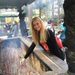 Becca Love, freshman dancer, at Lignyin Temple in Hangzhou, China