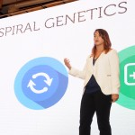 Adina Mangubat, CEO of Spiral Genetics and 2009 University of Washington graduate, presents on her company's work to facilitate large-scale DNA processing for use in personalized medicine during the UW's inaugural Innovation Summit.