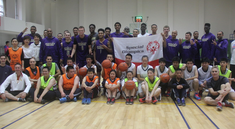 Washington men's basketball team joins Special Olympics for clinic and scrimmage in Shanghai