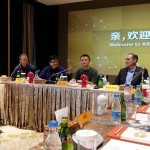 A delegation from the UW visit Alibaba's headquarters in Hangzhou.