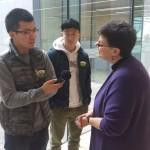 Student journalists from HUA Voice Radio interview President Ana Mari Cauce.