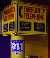 emergency phone located in garage