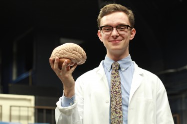 Neurobiology & psychocology major Mitchell Krawczyk has worked on seven productions with the Undergraduate Theater Society.