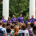 Photo of orientation leaders and students at orientation