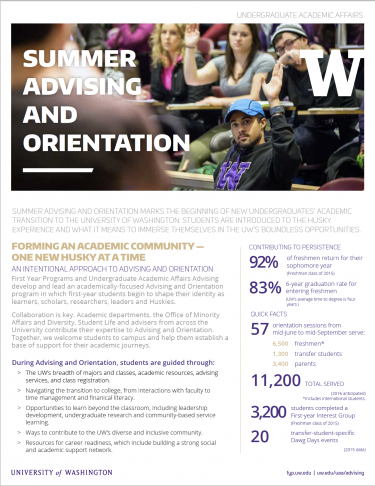 Advising and Orientation Fact Sheet screen shot