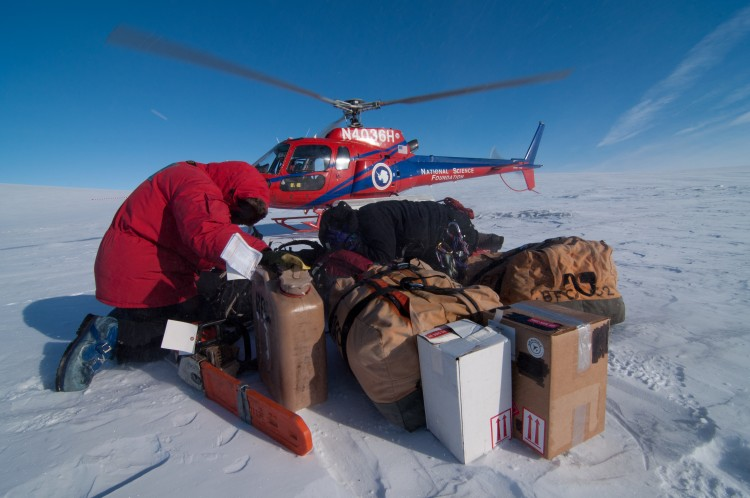 Helicopter and supplies in Antarctica