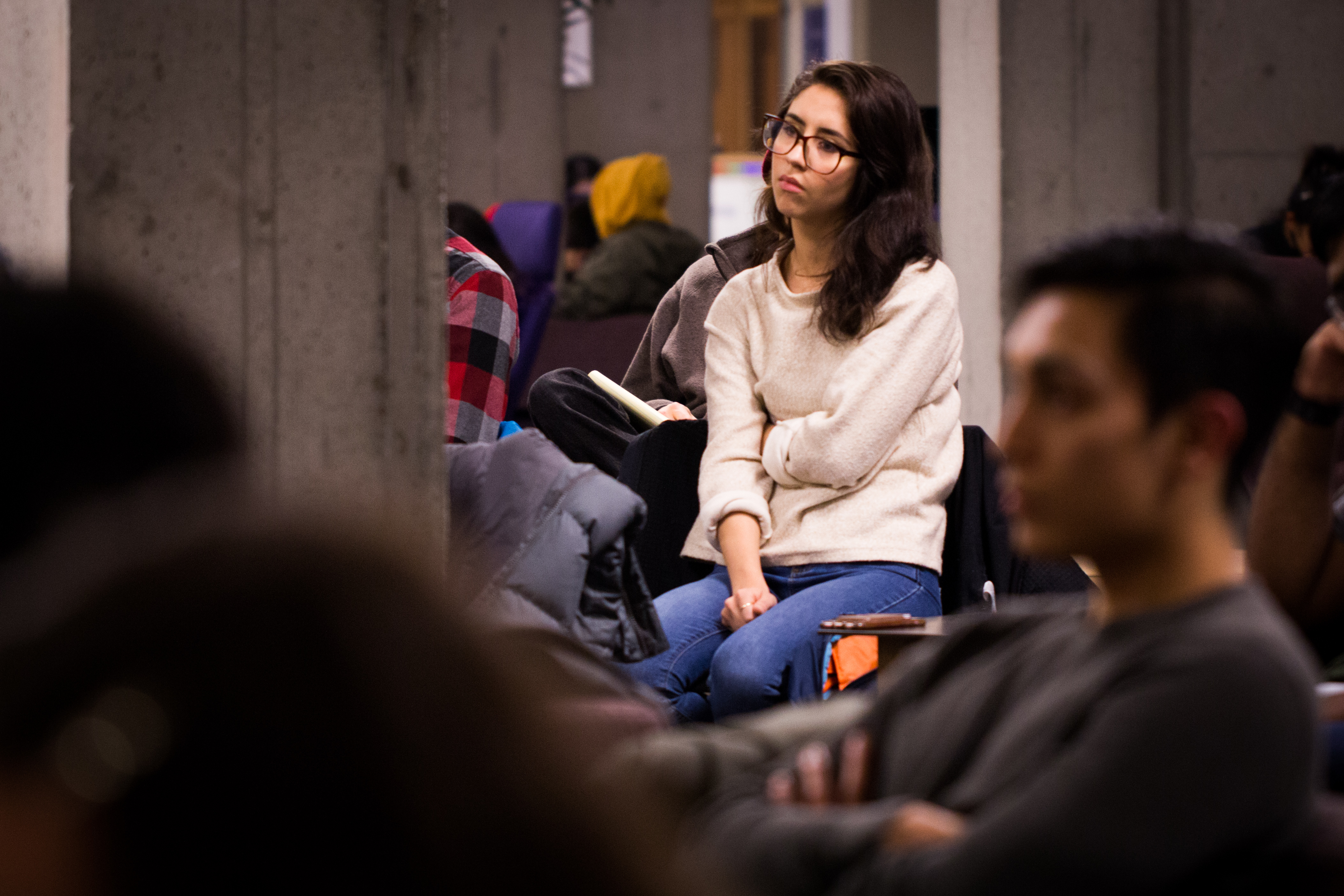 A student listens during one of the 2018 Leadership Firesides.