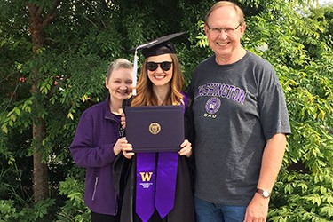 With her parents on graduation day.
