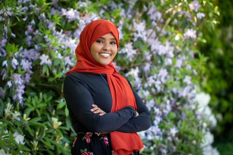 Samia Ali posing on the University of Washington campus.