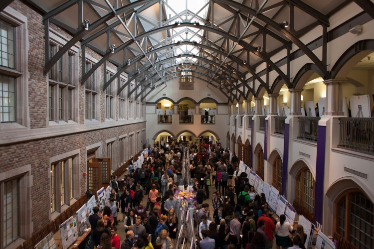 Photo of Mary Gates Hall Commons during the Undergraduate Research Symposium.