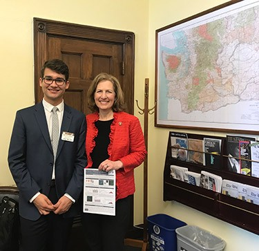 Hugo with Congresswoman Kim Schrier.