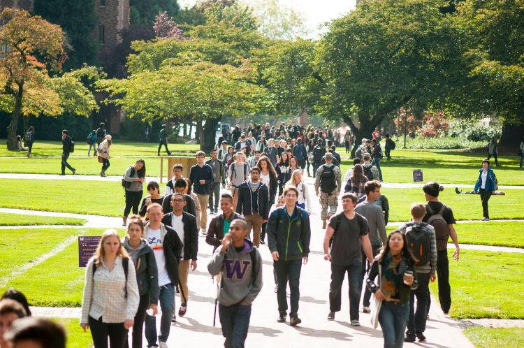 Photo of students walking in the Quad